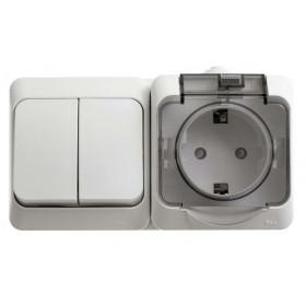 BPA16-242B Блок розетка электрическая со шторками и выключатель двухклавишный IP44 Этюд Белый