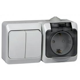 BPA16-242C Блок розетка электрическая со шторками и выключатель двухклавишный IP44 Этюд Серый