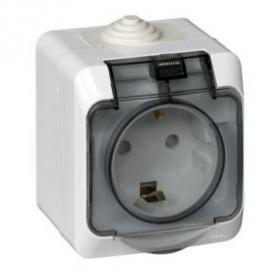 PA16-044B Розетка влагозащищенная электрическая со шторками IP44 Этюд Белый