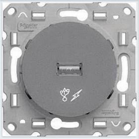 Розетка Schneider Electric Odace Алюминий S53R408 IP21 USB
