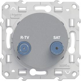 Розетка Schneider Electric Odace Алюминий S53R454 IP21 TV-R/SAT Одиночная
