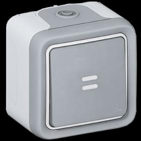Нажимная кнопка Legrand Plexo Серый 69722 IP55 с подсветкой накладная НО-контакт