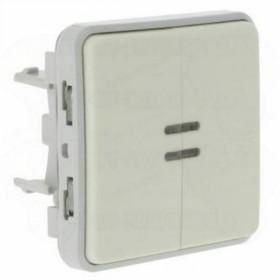 69626 Выключатель двухклавишный с 2-х мест с подсветкой Legrand Plexo влагозащищенный IP55 Белый