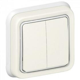 69855 Выключатель IP55 двухклавишный с 2-х мест скрытой установки Legrand Plexo влагозащищенный Белый