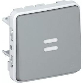 69513 Выключатель одноклавишный с 2-х мест проходной с подсветкой Legrand Plexo влагозащищенный IP55 Серый