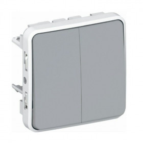 69525 Выключатель двухклавишный с 2-х мест Legrand Plexo влагозащищенный IP55 Серый