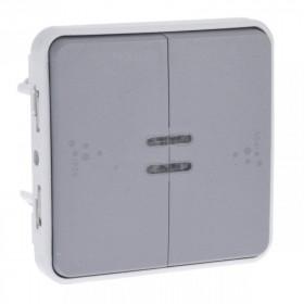 69526 Выключатель двухклавишный с 2-х мест с подсветкой Legrand Plexo влагозащищенный IP55 Серый