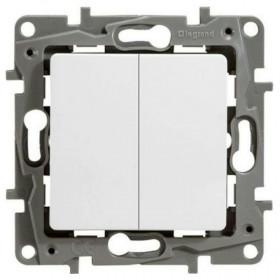 672202 Выключатель двухклавишный Legrand Etika Белый
