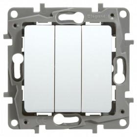 672213 Выключатель трехклавишный Legrand Etika Белый