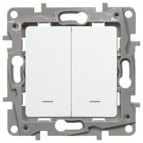 672216 Выключатель-переключатель двухклавишный с 2-х мест с подсветкой Legrand Etika Белый