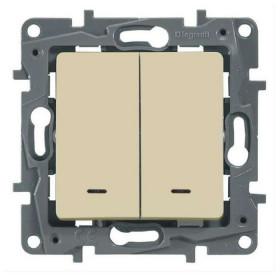 672316 Выключатель-переключатель двухклавишный с 2-х мест с подсветкой Legrand Etika Слоновая кость