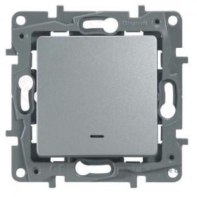 672415 Выключатель-переключатель одноклавишный с 2-х мест с подсветкой Legrand Etika Алюминий