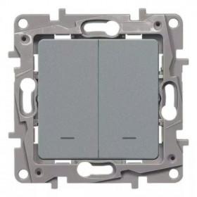 672416 Выключатель-переключатель двухклавишный с 2-х мест с подсветкой Legrand Etika Алюминий
