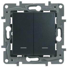 672616 Выключатель-переключатель двухклавишный с 2-х мест с подсветкой Legrand Etika Антрацит