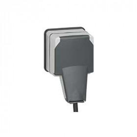 90465 Розетка IP66 Legrand Plexo с вставленной вилкой влагозащищенная с крышкой накладная открытой установки Серый