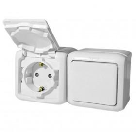 Блок розетка и выключатель Legrand Quteo Белый 782318 IP44