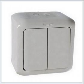 Выключатель Legrand Quteo Серый 782331 IP44 двухклавишный с 2-х мест