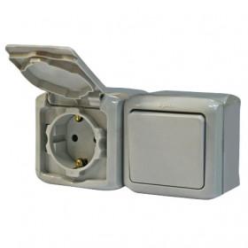 Блок розетка и выключатель Legrand Quteo Серый 782348 IP44