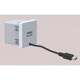 K126A-8  Розетка USB(зарядное устройство), 5V DC, 45х45мм, АЛЮМИНИЙ