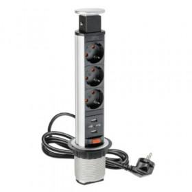 AE-BPW3S60U-80 Выдвижной розеточный блок GTV на 3 розетки 2к+з и 2 розетки USB, Серебристый