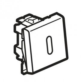 77042 Mosaic Кнопка переключателя с подсветкой 2 модуля(45*45мм) 6А, БЕЛЫЙ