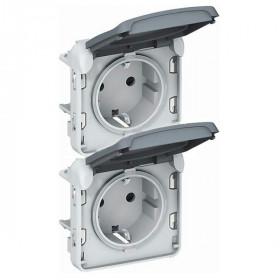 Розетка Plexo IP55 влагозащищенная электрическая двойная с крышкой вертикальная клеммы Legrand 69577 Серый