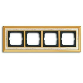Рамка 4-ая ABB Династия Латунь полированная/Белая роспись 1754-0-4573 IP20
