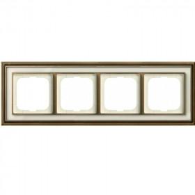 Рамка 4-ая ABB Династия Латунь античная/Белое стекло 1754-0-4583 IP20