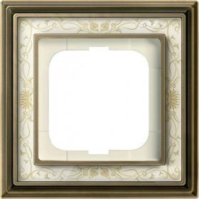 Рамка 1-ая ABB Династия Латунь античная/Белая роспись 1754-0-4590 IP20