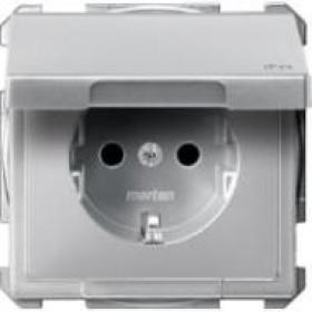 Розетка Merten System Design Алюминий MTN2314-4060 IP44