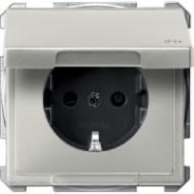Розетка Merten System Design Сталь MTN2314-4146 IP44