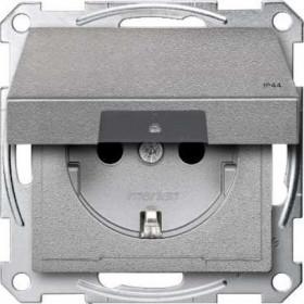 Розетка Merten System Design Алюминий MTN2314-0460 IP44