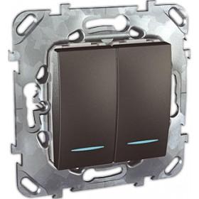 Выключатель Schneider Electric Unica Графит MGU5.0101.12NZD IP20 двухклавишный с индикацией