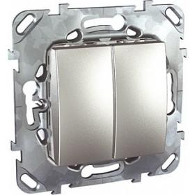 Выключатель Schneider Electric Unica Алюминий MGU5.211.30ZD IP20 двухклавишный