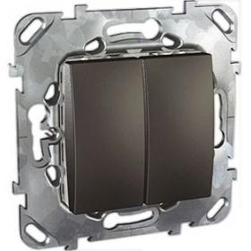 Выключатель Schneider Electric Unica Графит MGU5.213.12ZD IP20 двухклавишный