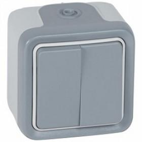 Выключатель Legrand Plexo Серый 69715 IP55 двухклавишный с 2-х мест накладной