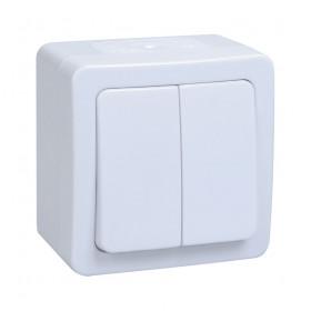 ВС20-2-0-ГПБ Выключатель двухклавишный IP54 IEK Гермес Plus Белый EVMP20-K01-10-54-EC