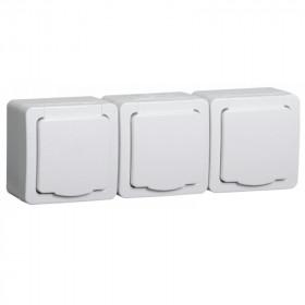 РСб23-3-ГПБб Розетка электрическая тройная IP54 Гермес Plus IEK ERMP32-K01-16-54-EC Белый