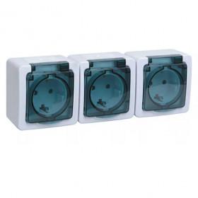 РСб23-3-ГПБд Розетка электрическая тройная IP54 Гермес Plus IEK ERMP32-K03-16-54-EC Белый
