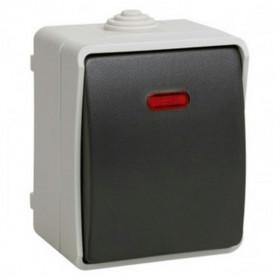 ВС20-1-1-ФСр Выключатель одноклавишный с подсветкой IP54 IEK Форс EVS11-K03-10-54-DC