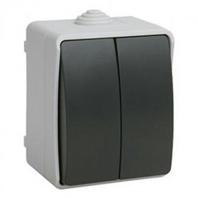ВС20-2-0-ФСр Выключатель двухклавишный IP54 IEK Форс EVS20-K03-10-54-DC