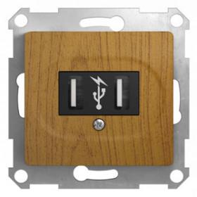 Розетка Schneider Electric Glossa Дуб GSL000532 IP20 USB