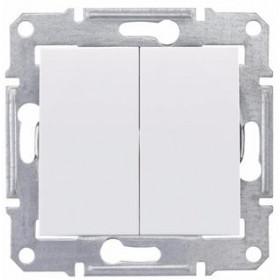 Выключатель двухклавишный IP44 скрытой установки Schneider Electric Sedna Белый SDN0300421