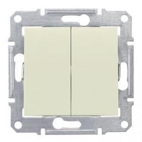 Выключатель двухклавишный IP44 скрытой установки Schneider Electric Sedna Бежевый SDN0300447