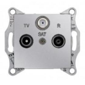 Розетка Schneider Electric Sedna Алюминий SDN3501260 IP20 TV/R/SAT Проходная