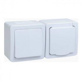 БГб-22-31-ГПБб Блок горзонтальный выключатель одноклавишный+розетка IP54 Гермес Plus IEK EBGMP20-K01-31-54-EC Белый