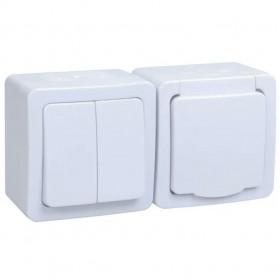 БГб-22-32-ГПБб Блок горзонтальный выключатель двухклавишный+розетка IP54 Гермес Plus IEK EBGMP20-K01-32-54-EC Белый