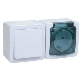 БГб-22-31-ГПБд Блок горзонтальный выключатель одноклавишный+розетка IP54 Гермес Plus IEK EBGMP20-K03-31-54-EC Белый