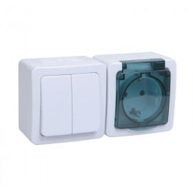БГб-22-32-ГПБд Блок горзонтальный выключатель двухклавишный+розетка IP54 Гермес Plus IEK EBGMP20-K03-32-54-EC Белый