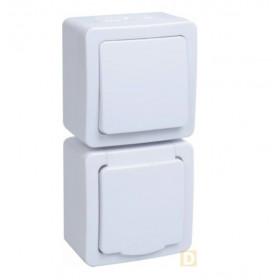 БВб-22-31-ГПБб Блок вертикальный выключатель одноклавишный+розетка IP54 Гермес Plus IEK EBVMP20-K01-31-54-EC Белый